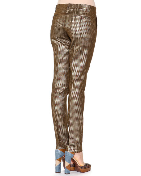 Herringbone Brocade Skinny Pants