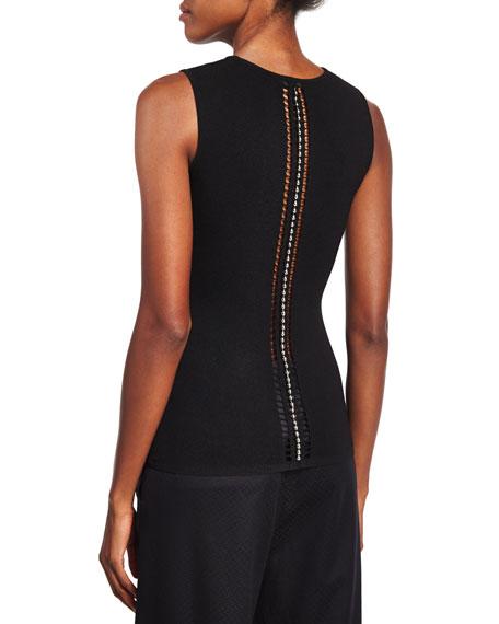 Ball & Chain Spine Sleeveless Sweater, Black
