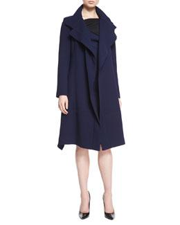 Riderhood Double-Faced A-Line Coat, Navy/Black