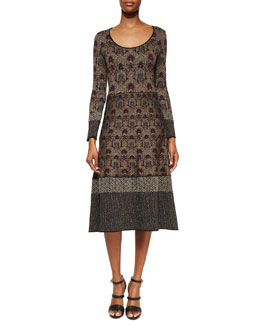 Contrast-Trimmed Damask-Print Midi Dress