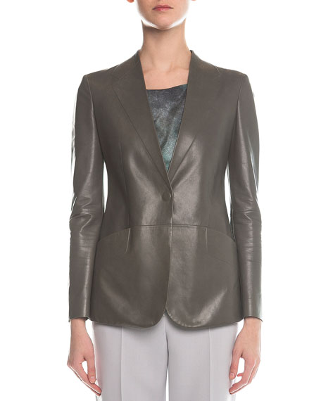 Giorgio Armani Faux-Lapel Plonge Leather Blazer, Gray