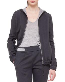Cashmere-Blend Reversible Hooded Jacket
