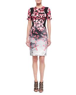 Tulip-Print Contrast-Inset Sheath Dress