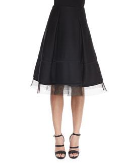 Sculpted Tulle-Trimmed Full Skirt