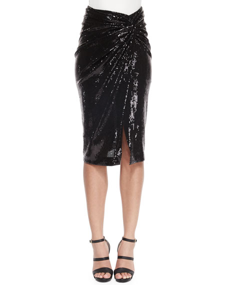 Donna Karan Sequined Twist-Knot Skirt