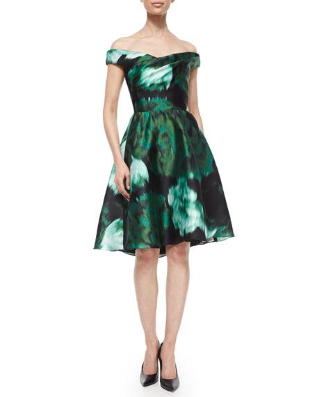 Off-The-Shoulder Floral Ikat Fit-And-Flare Dress