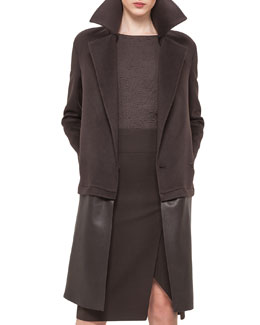 Double-Face Cashmere Coat w/Zip-Off Leather Hem