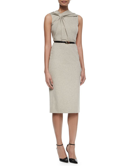 Twist-Front Sleeveless Dress w/Belt