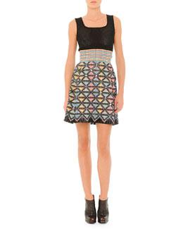 Sleeveless Dress with Textured Skirt