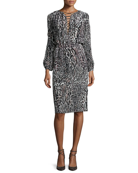 Long-Sleeve Leopard-Print Silk Dress