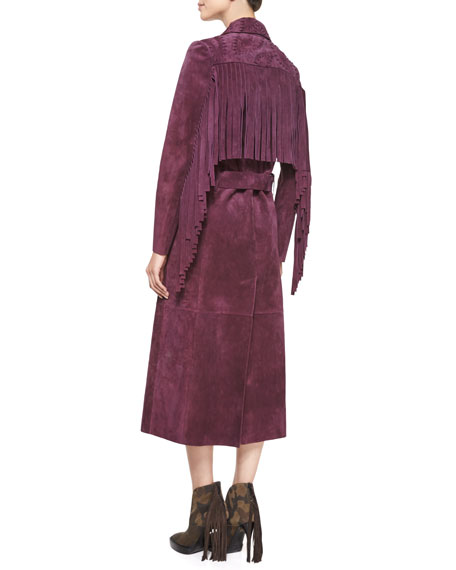Long-Sleeve Long Trench Coat, Elderberry