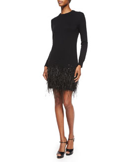 Long-Sleeve Feather-Hem Dress, Black