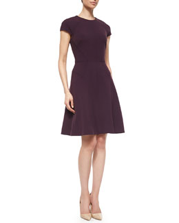 Blair Cap-Sleeve Dress, Plum