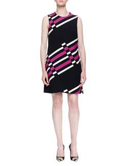 Uneven Striped Shift Dress