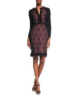 Long-Sleeve Floral-Inset Dress, Black/Raspberry