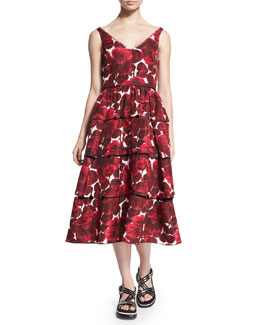 Sleeveless Hibiscus-Print Tiered Dress, Pink