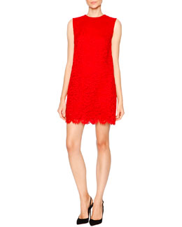Cordonetto Lace Shift Dress, Bright Red