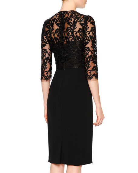 3/4-Sleeve Lace & Cady Sheath Dress, Black
