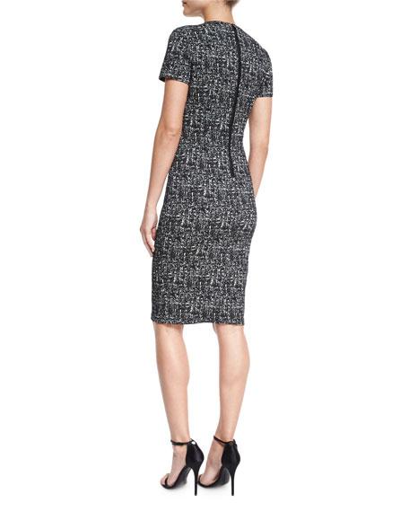 Shift Dress W/French Darts, Black/White