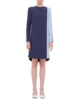 Long-Sleeve Two-Tone Shift Dress, Indigo/Sky