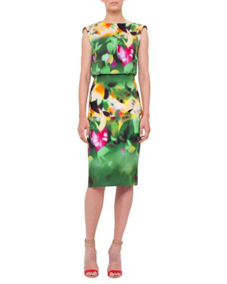 Sleeveless Grand-Hedge-Print Sheath Dress, Multi Colors