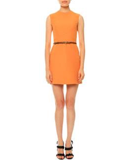 Sleeveless Jewel-Neck Belted Dress, Mandarin