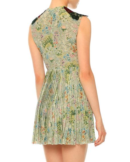 Sleeveless Lace & Garden-Print Plisse Dress, Multi Colors