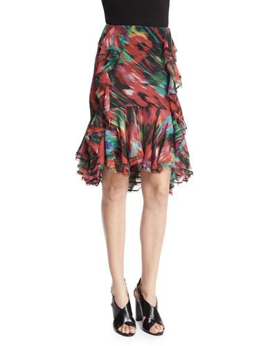 Floral-Print Ruffle Skirt, Black/Multi
