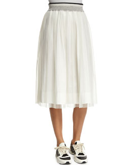 High-Waist A-Line Skirt, White