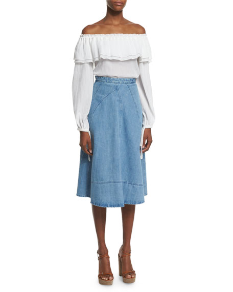 Seamed Denim Flare Skirt, Sky Blue