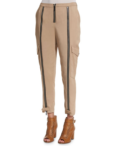 Mid-Rise Easy Cropped Pants, Beige