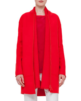 Zip-Front Long-Sleeve Coat, Sport Red