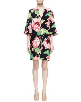 Half-Sleeve Floral-Print Dress, Black