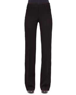 Mikka Mid-Rise Wide-Leg Pants, Black