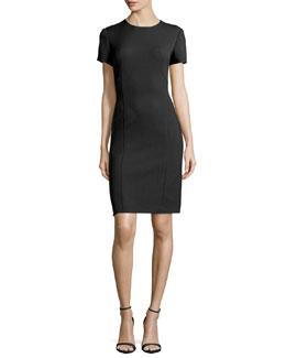 Short-Sleeve Sheath Dress, Black