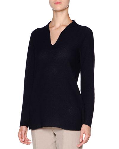 Long-Sleeve Silk Pullover Tunic, Navy