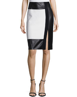 Colorblock Leather-Inset Pencil Skirt, Cream/Black