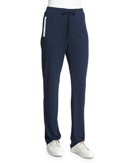 Slim-Leg Drawstring Pants W/Contrast Trim, Astral Blue