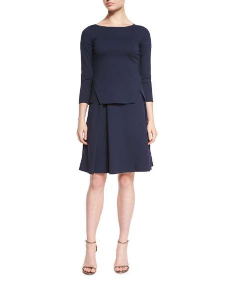 Box-Pleated Jersey A-Line Skirt, Astral Blue