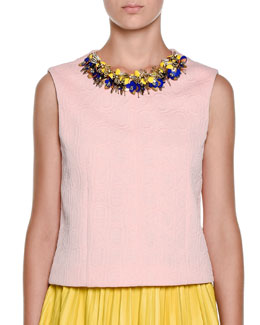 Embellished-Neck Textured Top, Cinder Rose