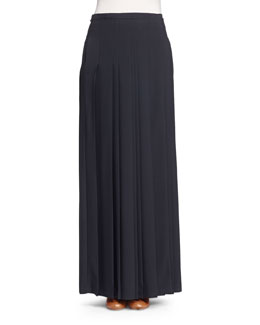 Pleated Kilt Maxi Skirt, Black