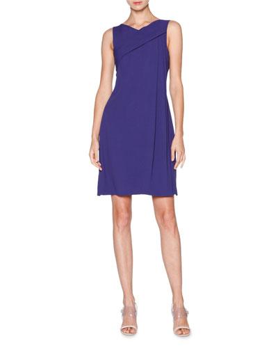 Sleeveless Grecian-Drape Dress, Indigo