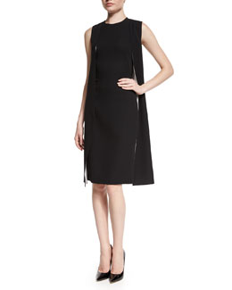 Sleeveless Double-Face Cape Dress, Black/Optic White