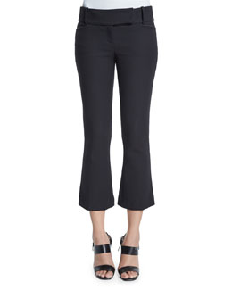 Flare-Leg Cropped Pants, Black