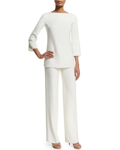 Straight-Leg Side-Zip Pants, White