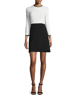 Bracelet-Sleeve Two-Piece Dress, Ivory/Navy