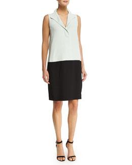 Sleeveless Colorblock Shift Dress, Mint/Black