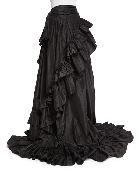 16cff0212cdcc Roberto Cavalli High-Low Ruffled Skirt