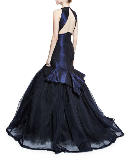 Sleeveless V-Neck Mermaid Gown, Navy