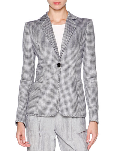 Houndstooth One-Button Jacket